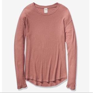 Coco Powder Long Sleeve Waffle Tee From PINK